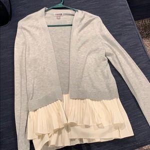 Chelsea28 gray cardigan with cream ruffle